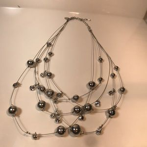 Cookie Lee 5 strand rhinestone necklace silvertone